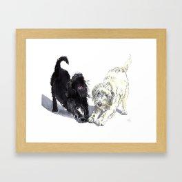 Stretching Labradoodles Framed Art Print