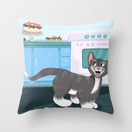 Kitty Spies A Tasty Surprise Throw Pillow