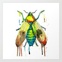 Watercolor bug Art Print
