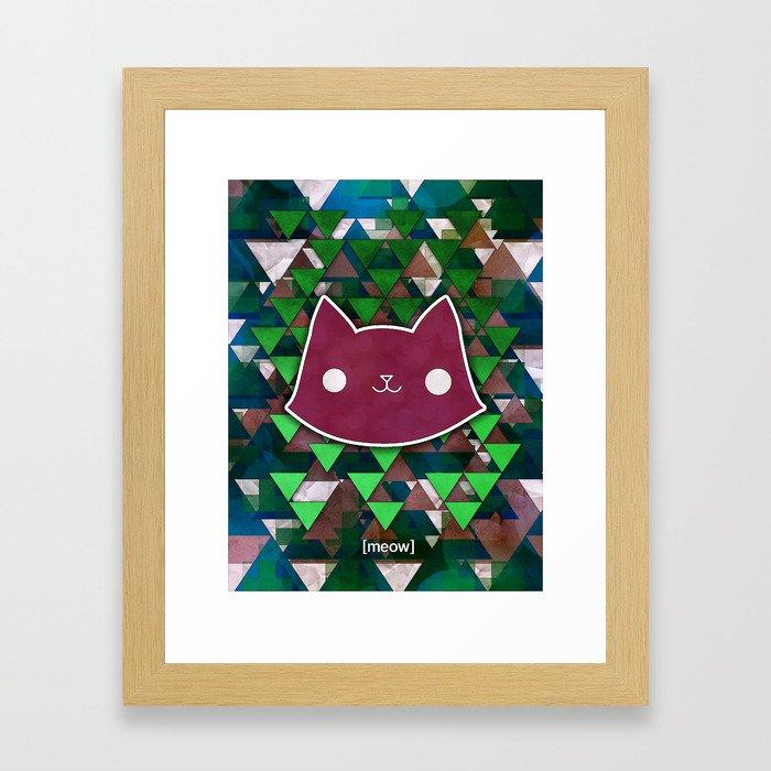 Triangle Meows Framed Art Print