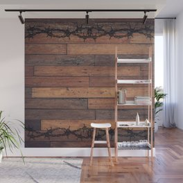 Rustic Wood and Wire Wall Mural