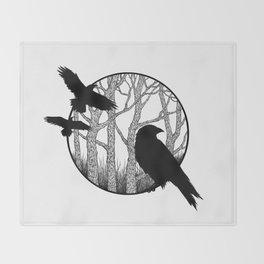 Black Birds II Throw Blanket