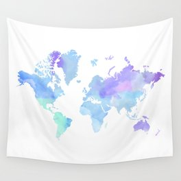 BLUE WATERCOLOR TRAVEL MAP Wall Tapestry