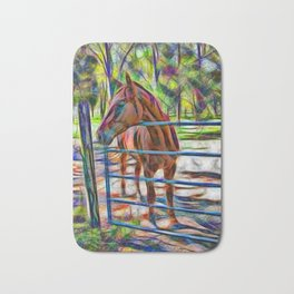 Abstract horse standing at gate Bath Mat