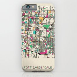 Colorful City Maps: Fort Lauderdale, Florida iPhone Case