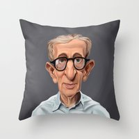 celebrity Throw Pillows featuring Celebrity Sunday ~ Woody Allen by rob art | illustration