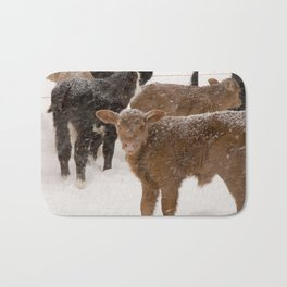 Calves in The Snow Bath Mat