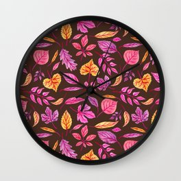 Fall Leaves on Brown Wall Clock