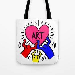 """Keith Haring inspired """"I Love Art"""" Primary Colors edition Tote Bag"""