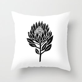 Linocut Protea floral black and white minimal flower spring Throw Pillow
