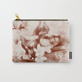 Sepia toned tropical flowers and butterflies Carry-All Pouch
