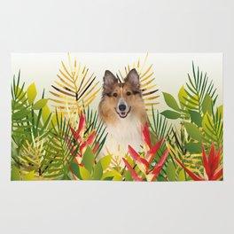 Collie Dog sitting in Garden Rug