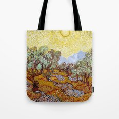Van Gogh - Olive Trees with yellow sky and sun Tote Bag
