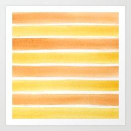 Yellow Orange and White Watercolour Stripes Painted Pattern Art Print