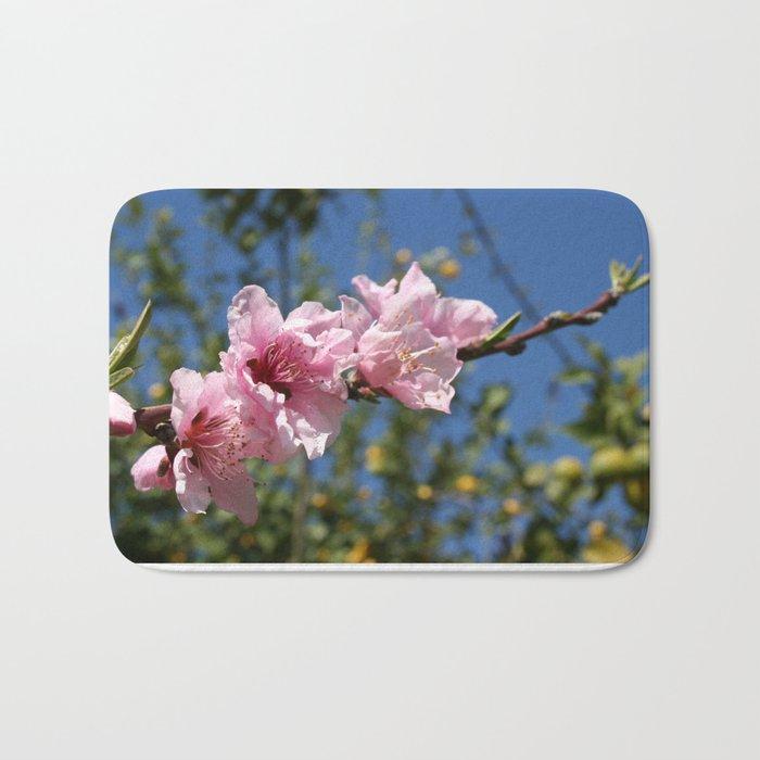 Peach Tree Blossom Against Blue Sky Bath Mat