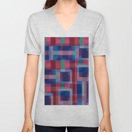 Abstraction rouge et bleue Unisex V-Neck