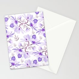 Hand painted lilac purple watercolor magnolia floral pattern Stationery Cards
