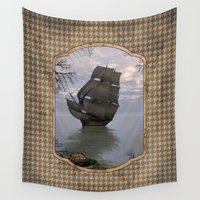 pirate ship Wall Tapestries featuring Pirate Treasure by Hafapea