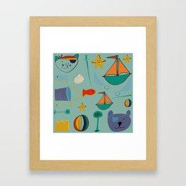 cat and bear at the beach blue green Framed Art Print