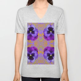 FOUR  PURPLE PANSIES ON LILAC  BROCADE GARDEN Unisex V-Neck