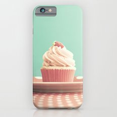 Pastel strawberry cupcake on Polka Dots Table  iPhone 6s Slim Case