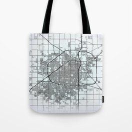 Lubbock TX USA White City Map Tote Bag