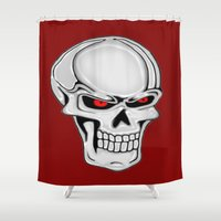 metallic Shower Curtains featuring Metallic Skull by J&C Creations