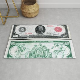 1914 $100 Dollar Bill Federal Reserve Note with a portrait of Benjamin Franklin Rug
