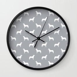 Husky dog pattern simple minimal basic dog silhouette huskies dog breed grey and white Wall Clock