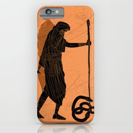 tiresias blind greek prophet half woman and half man killing two snakes with a stick iPhone Case