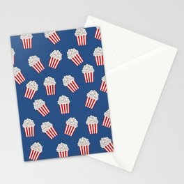 Cute Popcorn Bucket in red and blue Stationery Cards