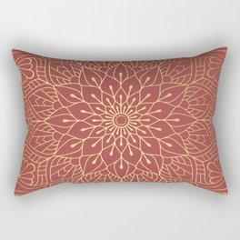 Gold Mandala Pattern On Cherry Red Rectangular Pillow