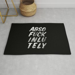 Abso Fuck Inlu Tely black and white funny typography design quote poster in black-and-white Rug