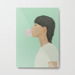 Blowing Bubble Gum Metal Print