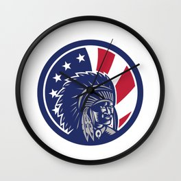 Native American Indian Chief USA Flag Icon Wall Clock
