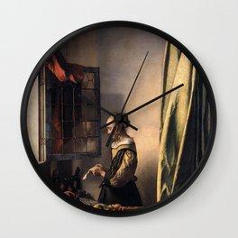 Johannes Vermeer - Girl Reading a Letter at an Open Window Wall Clock