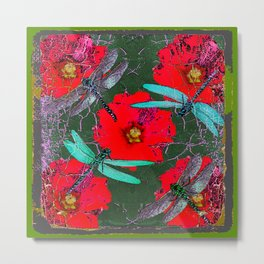 ANTIQUE CRACKLED  BLUE DRAGONFLIES ON RED HOLLYHOCK FLOWERS Metal Print
