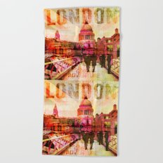 London St. Pauls Cathedral modern illustration typography Beach Towel