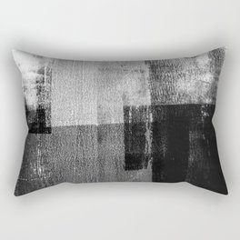 Black and White Minimalist Geometric Abstract Rectangular Pillow