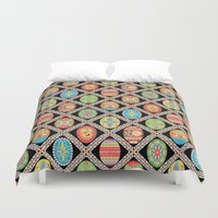 egg Duvet Covers featuring Egg-stravaganza by Groovity