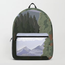 Sequoia National Park, California, Redwood Tree Forest, Vintage Style Poster Backpack
