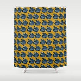 Crown Lynn Swans (Mustard) Shower Curtain