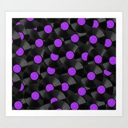 Vinyl Records Pattern (Purple) Art Print