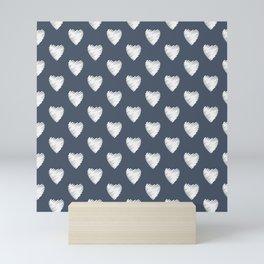 Pretty white hearts on Navy Mini Art Print