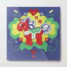 Red Valley Horse - Swedish Dala-Horse Metal Print