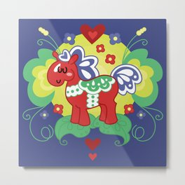Red Valley Horse - Swedish Dala-Horse Metal Print
