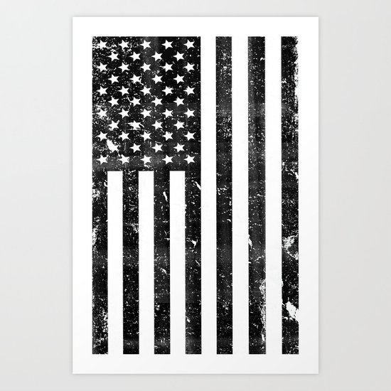 Dirty Vintage Black And White American Flag Art Print By
