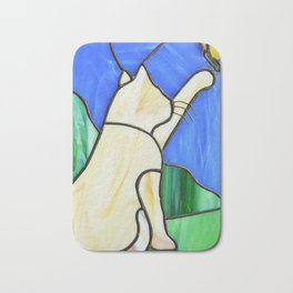 Stain glass cat Bath Mat