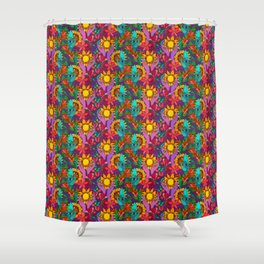 Pattern with sunflowers, magnolia, gladiolus and human hands Shower Curtain