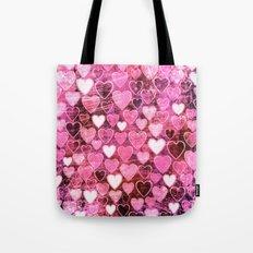 Grungy Pink Hearts Tote Bag